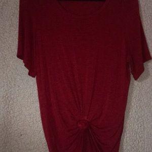 L&B Life Burgundy Short Sleeve Tunic Blouse